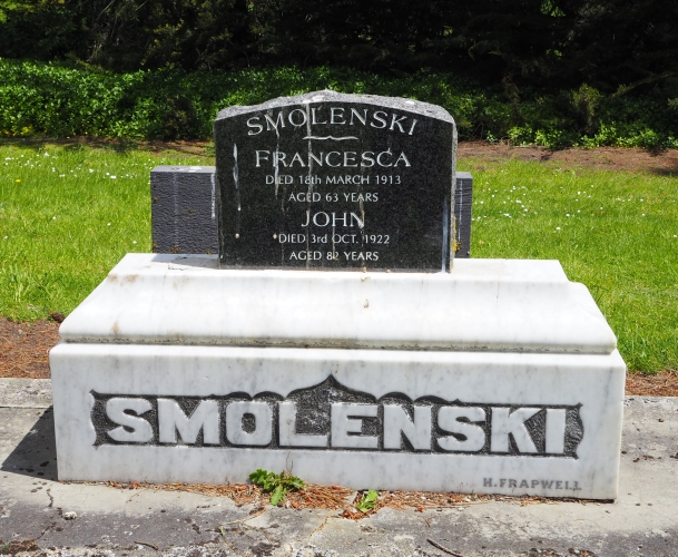 Large white  Smolenski basestone with a new black headstone for Frances and John.
