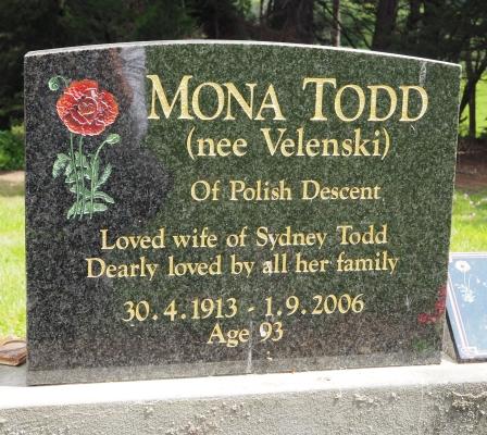 Headstone  Mona Todd Velenski