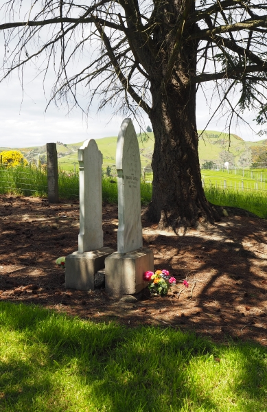 Wroblewski and Switala headstones back to back in the shade of a tree