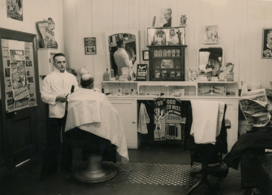 James Bungard in his  barber's shop.