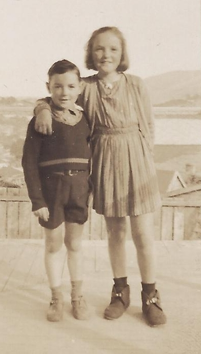 Yvonne, about 11,  has her arm around Roy, about 8