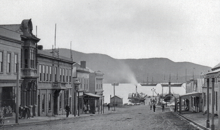 Port Chalmers' George Street towards Koputai Bay.