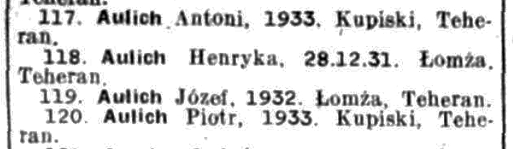 Henia,  Józef, Piotr and Antoni's names on the List of Polish Evacuees from the USSR