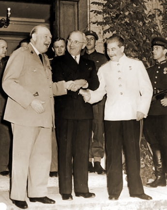 Churchill,  Atlee and Stalin in Potsdam
