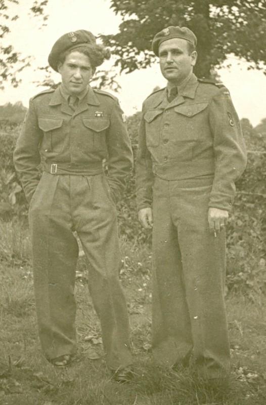 Bronisław  Bojanowski with another Polish soldier in a field.