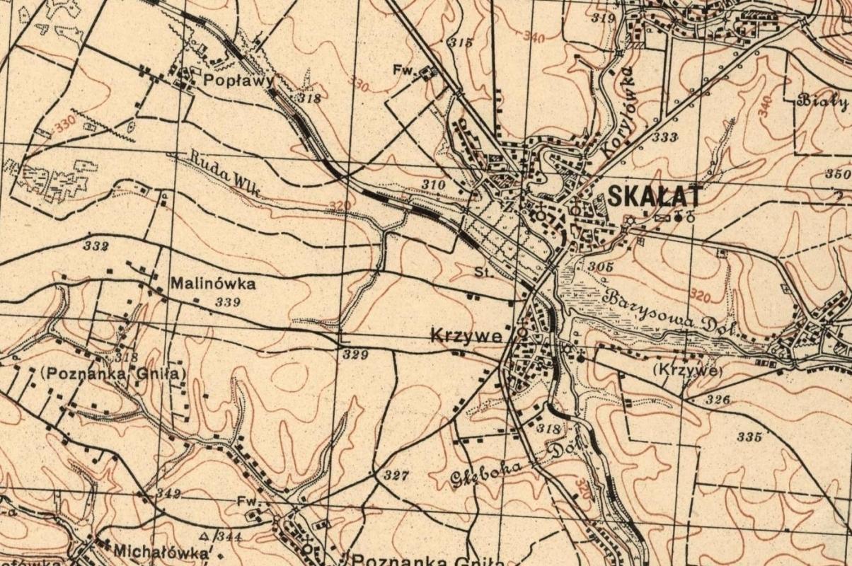 map of Krzywe,  near Skałat