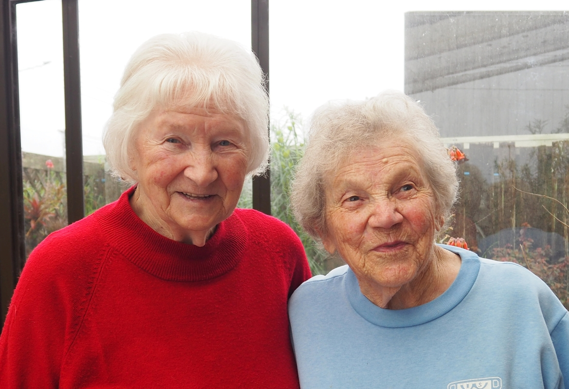 A close-up of the sisters.