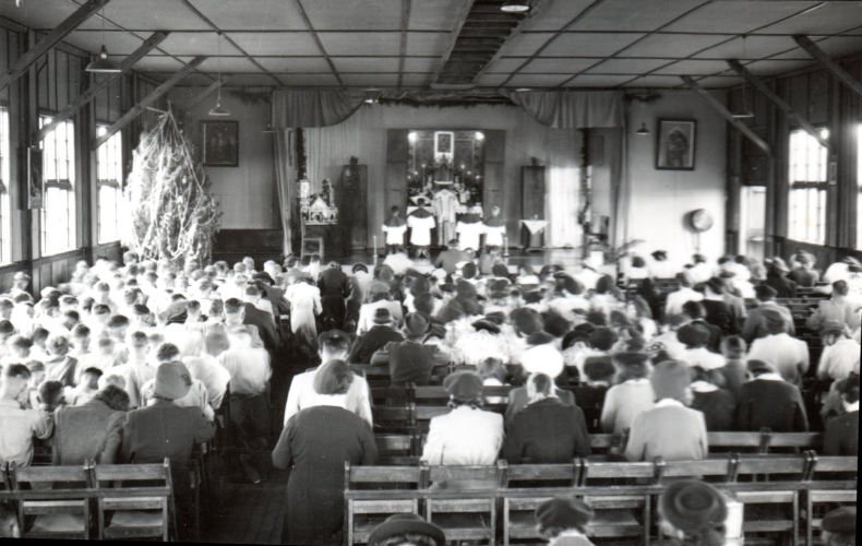 The hall in Pahiatua  transformed into a church