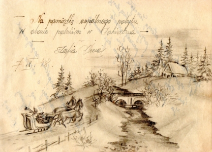 Drawing of a Polish  wintery scene