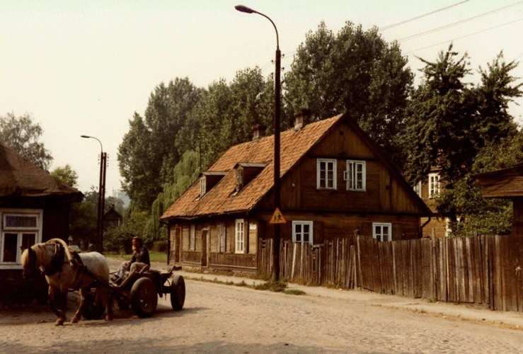 Street  in Białystok with old house and horse and cart