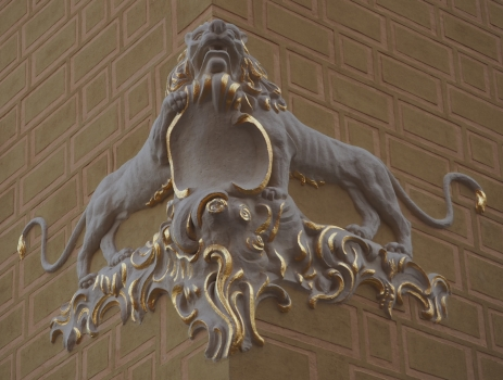 Lion gilt detailing  on the corner of John House 2016