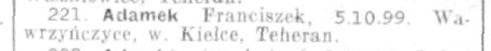 Blurry  image of the name of Franciszek Adamek on the Red Cross list.