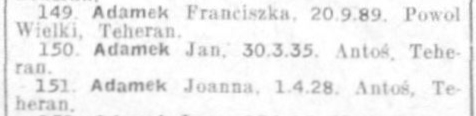 Blurry image of the names of Franciszka, Joanna and Jan Adamek on the Red Cross list.