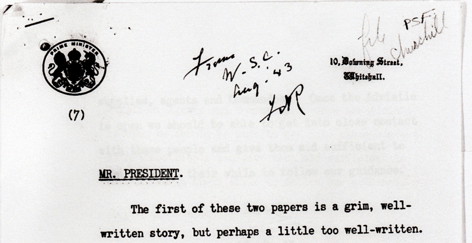 The top part of Churchill's note to Roosevelt, on Downing Street, Whitehall letterhead.