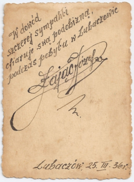 Back of same  photograph showing Józef's unmistakable flamboyant signature.
