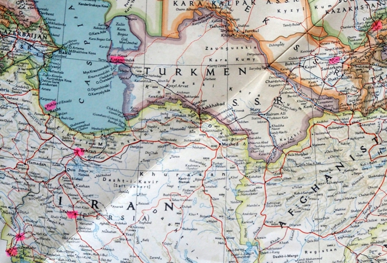 A section of the National  Geographic's 1949 map of the USSR showing towns on his route west out of the USSR.