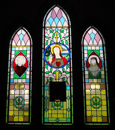 The re-made  altar windows at the Broad Bay church
