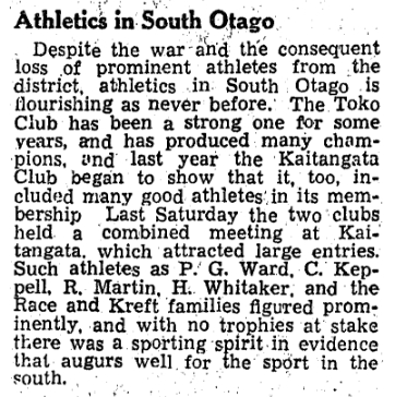 A copy of the  newspaper article about an athletics meeting where the Kreft family featured predominantly