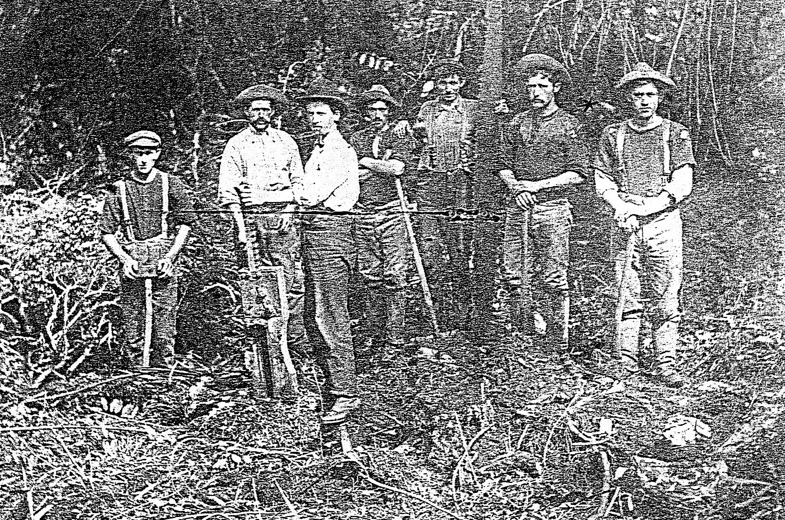 John and  Joe Crofskey with a group of tree fellers
