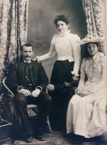 Martin and Mary Ryan on their wedding day with unnamed bridesmaid