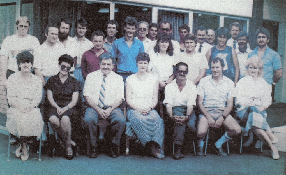 Staff photograph outside the  Shrimpton and Lipinski offices in Tauranga.