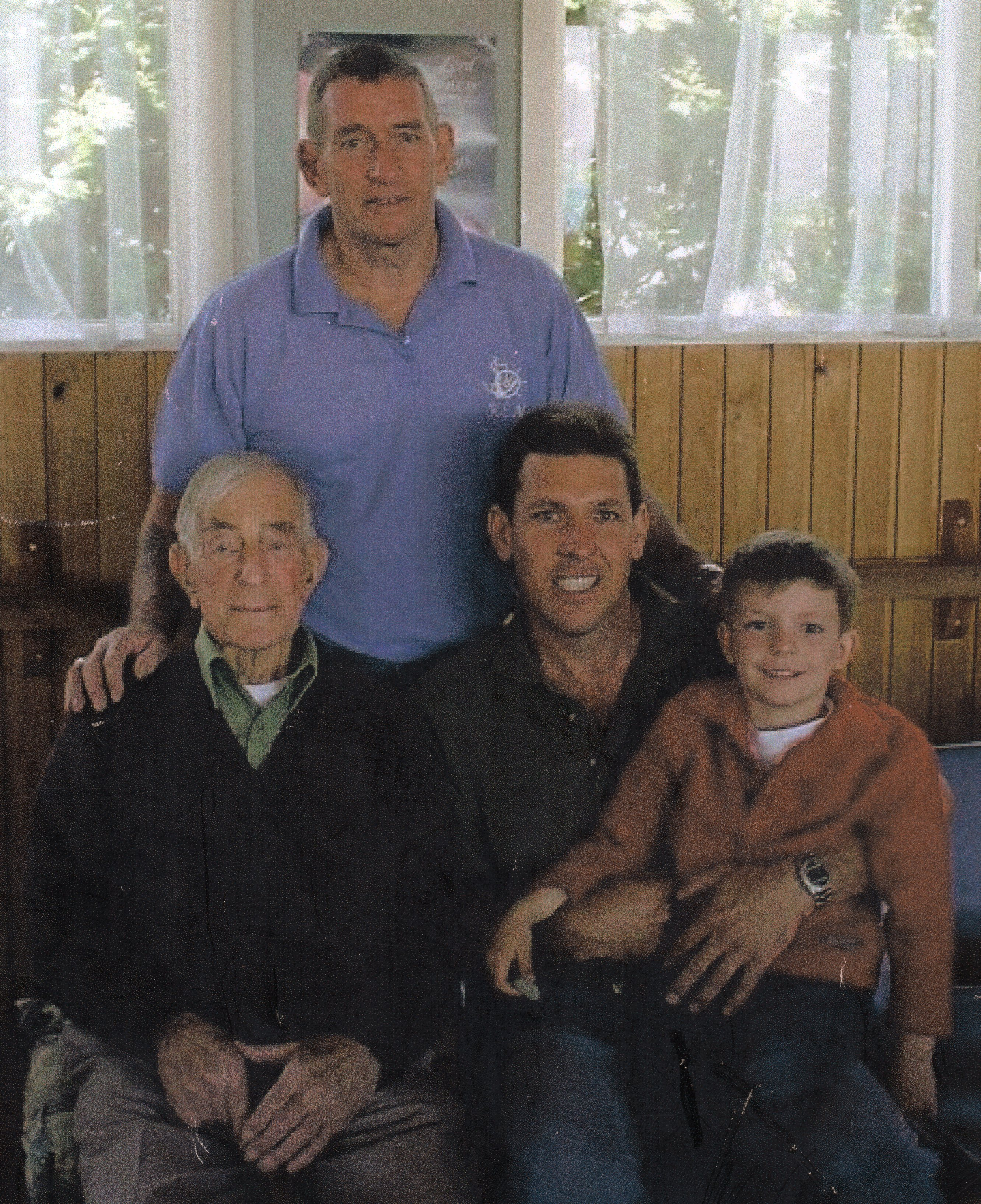 Alex Luskie with his  son, grandson and grest-grandson