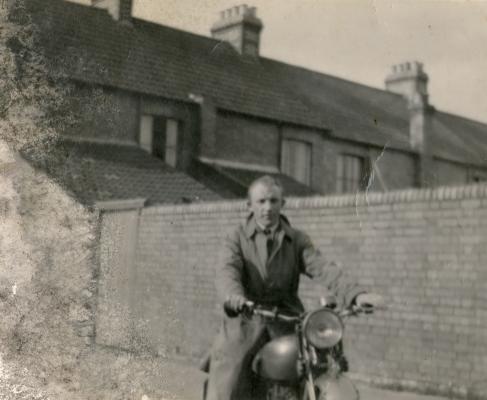 Bogdan Marchewa on morotcycle in England.