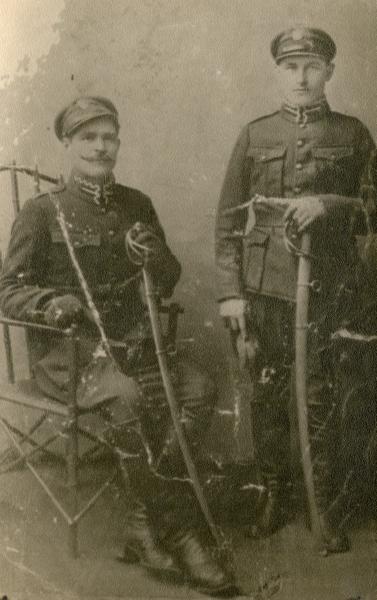 Walenty Marchewa with fellow lancer circa 1920-1