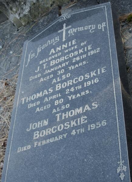 Headstone   of Thomas Borkoskie, his son, John Thomas and John Thomas's wife, Annie