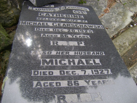 Headstone  of Michael and Catherine Gearschawski, Linwood cemetery