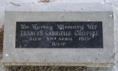 Cemetery  plaque for Frances Gabrielle Grofski