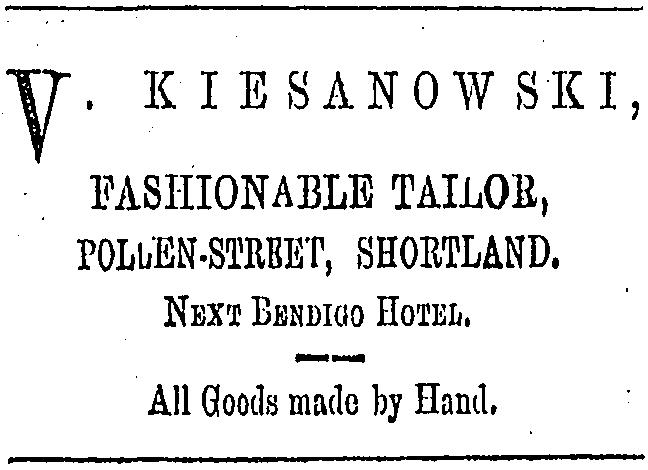 Kiesanowski advert  from Thames Advertiser