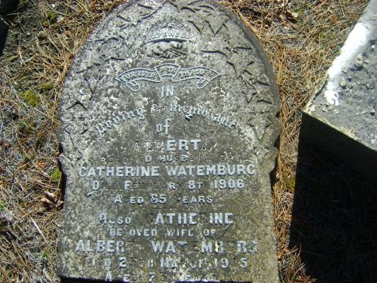 Headstone of  Albert and Catherine Watemburg