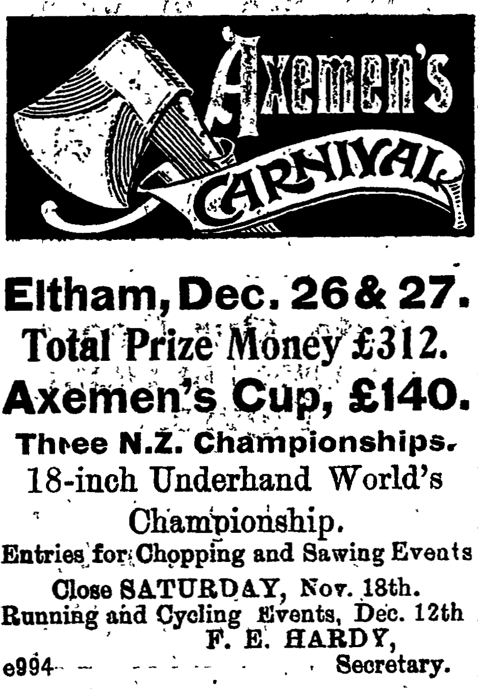 Newspaper  advertisement for the Axemen's Cup