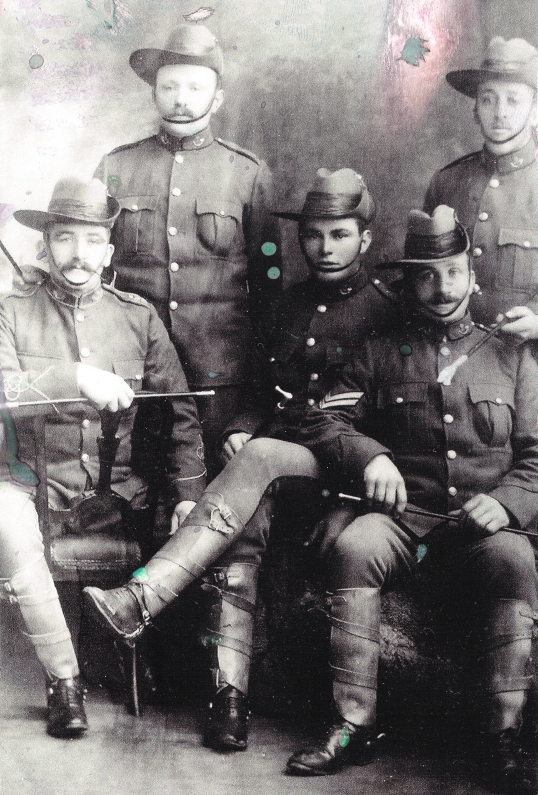 John Orlowski with four other men dressed in NZ army uniform used in the Boer War