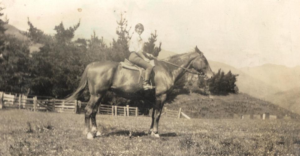 Mavis Orlowski on  her horse