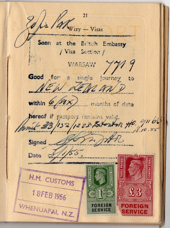 Page in passport  showing six months' validity and a one-time entry to New Zealand.