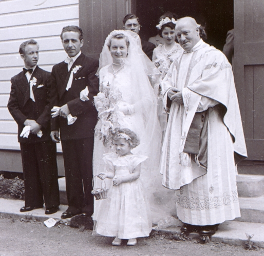Anna and   Władysław Piotrkowski outside the church after wedding