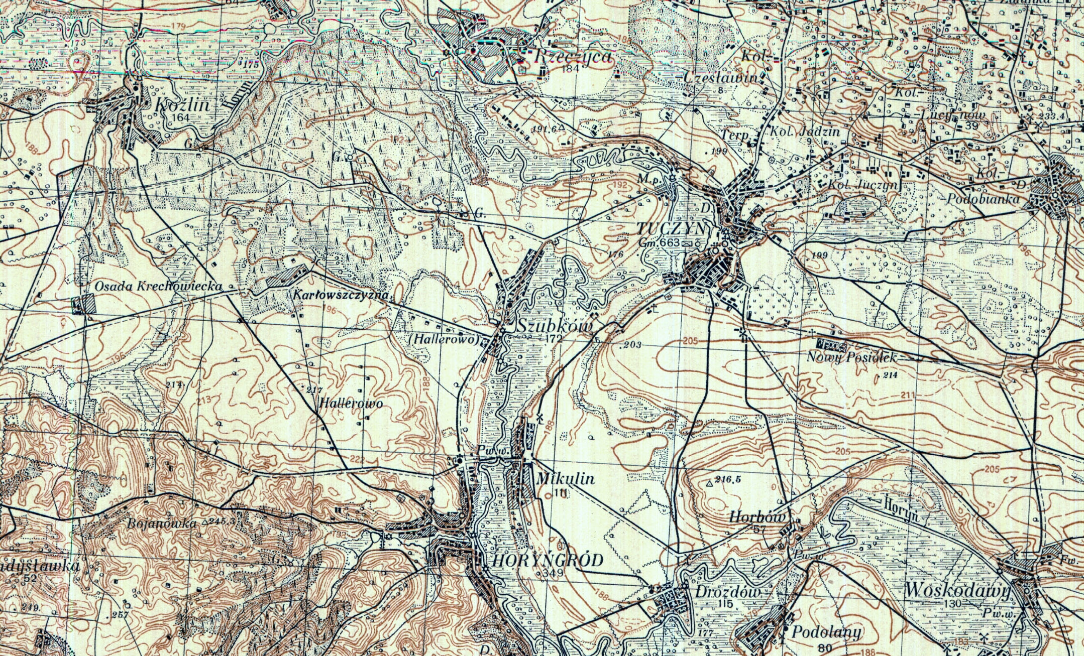 Detailed map of   early Hallerowo and environs.