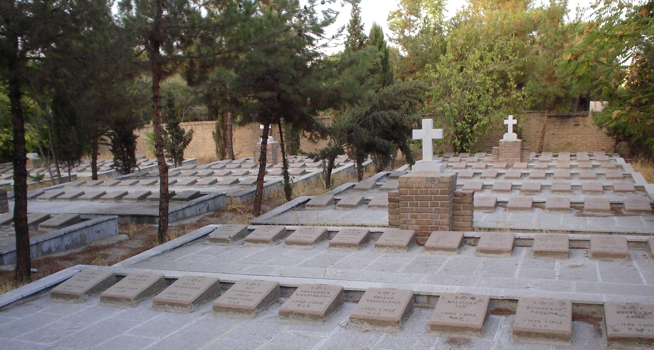 Headstones at the Polish cemetery in Teheran