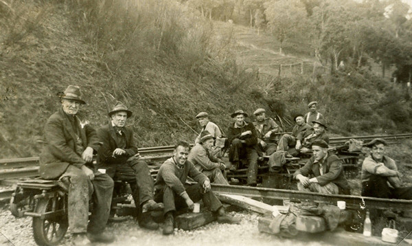 Michał with other  railway workers