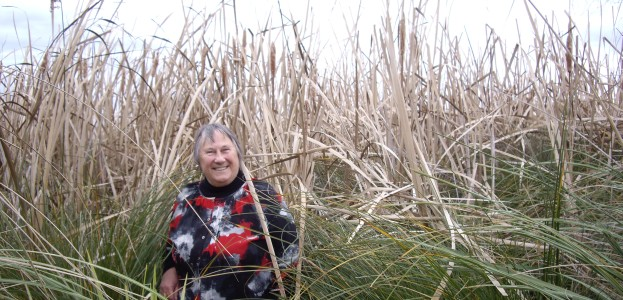 Margaret Copland in  the reeds at Marshland swamp