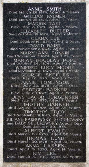 Names on the plaque of the Matiu/ Somes Island monument.