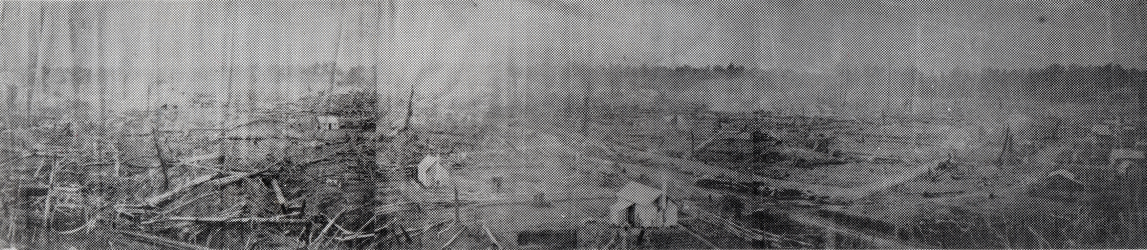 Black and white panoramic  view of early Inglewood
