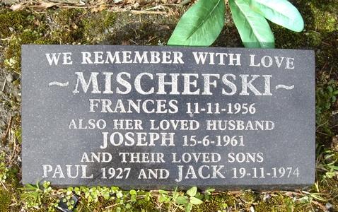 The Mischewski headstone, flat against the ground
