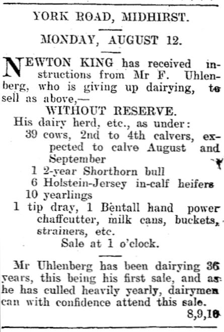The  advert offering Franz Uhlenberg's farm for sale.