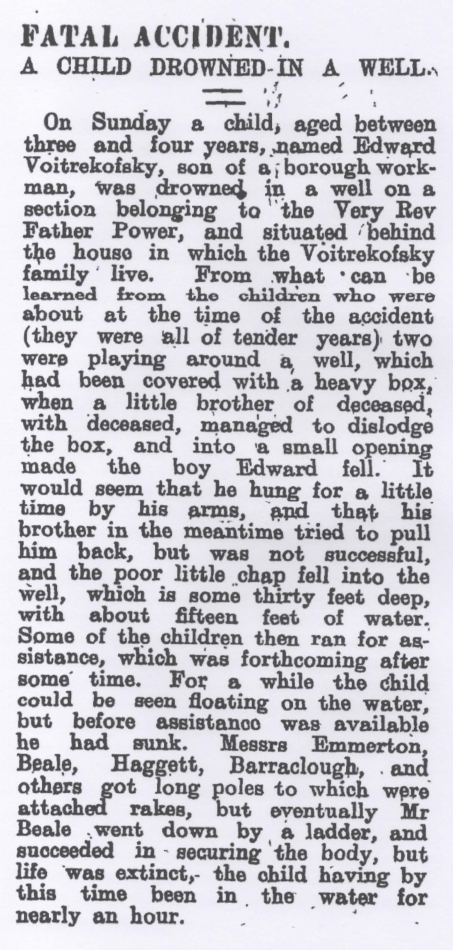 Newspaper  clipping of Eddie's drowning