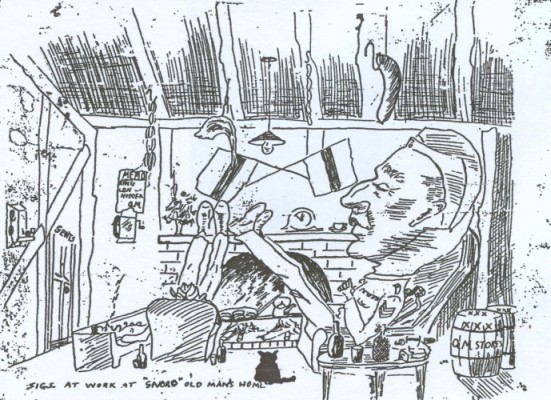 Cartoon of Fred   reclining in a chair in his dug-out, Polish sausages hanging from ceiling
