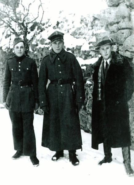 Wisia's half-brother,  Mietek with two friends in Tajkury circa 1939