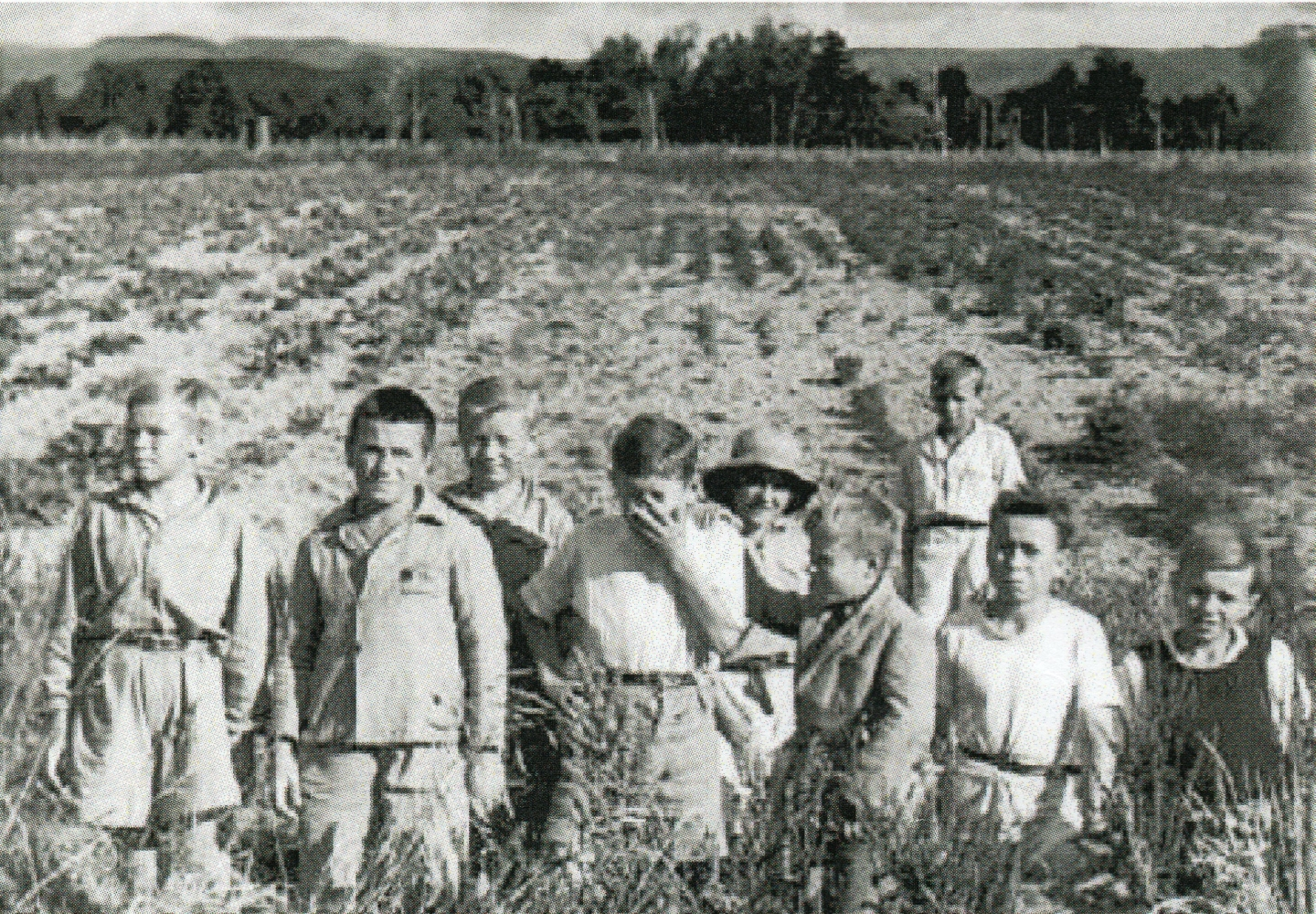 Nine boys in the  foreground of the Pahiatua vegetable garden.